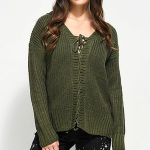 Almost Famous | Mandy Lace Up Olive Sweater | B84